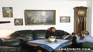 Redhead Amateur Mummy  Deep-throats Shaft With Cum On Boobies