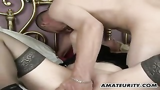 Poor Amateur Mummy  Homemade Action With Creampie