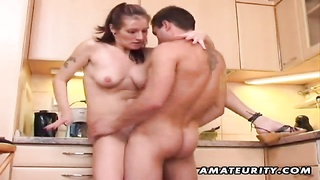 A Young Amateur Couple Homemade Hardcore Action In The Kitchen With Blowjob And Fuck Ending With A H