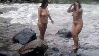 2 Indian Frail Womens Dull Bathing In River Bare