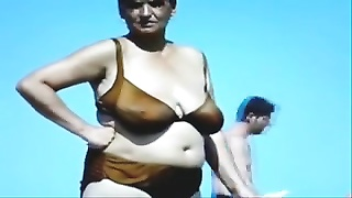 Russian Huge-boobed  Aged Grannies On The Beach! Amateur!