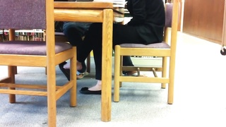 Candid Asian Library Shoeplay Feet Hanging Flats Pt Three