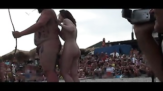 Ladies With Painted Bodies In Russian Nudist Beach